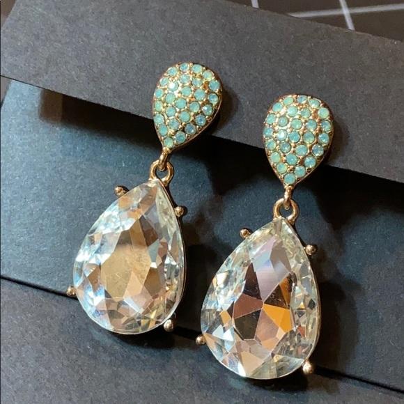 """Jewelry - Pear Drop Crystal & Green Pierced Earrings 2"""""""